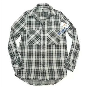 Seven7 Jeans Pocket Lurex Plaid Button Down Shirt